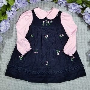 2/$24 Good Lad black/pink floral pinafore dress